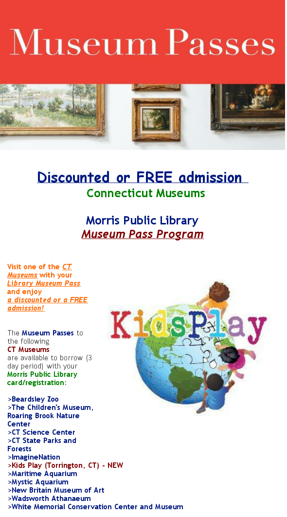 Morris Public Library Museum passes NEW